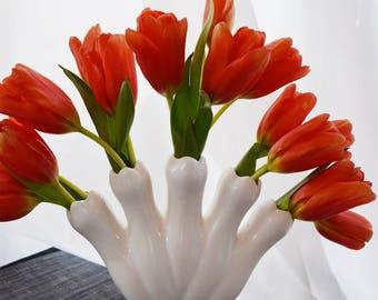 """Vintage Bright White Five Finger Vase - Marked """"Japan"""""""