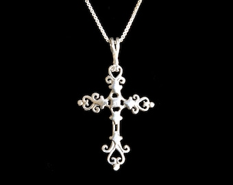 Floral Orthodox Cross Sterling Silver