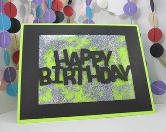 Glitter Happy Birthday Card - loose glitter card - green black birthday silver glitter - sparkly birthday - glitter card - silver sparkles