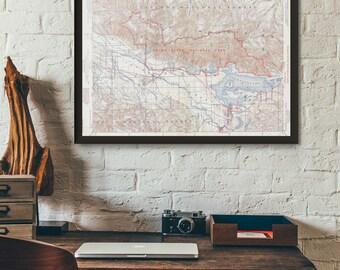 Grand Teton National Park Wyoming Map - Vintage Topographic map U.S National Park Wyoming Art