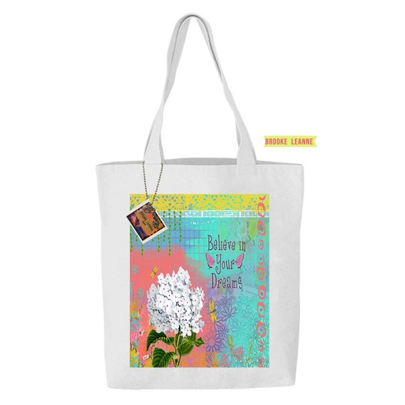 Flower Tote Bag, Reusable Shopper Bag, Farmers Market Bag, Cotton Tote, Eco Bag, Reusable Grocery Bag, gift for garden lover