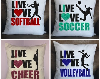 Cheer, Dance, Gymnastics, Softball, Volleyball, Soccer, Lacrosse, Live Love Pillow CASE ONLY, WHITE Throw Pillow Cover, Home Decor, Gift