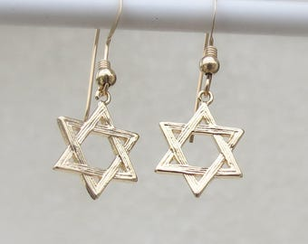 Star of David earrings, Jewish Earrings, Judaica Jewelry, Gold Jewish Star Earrings, Bat Mitzvah Jewelry, Jewish Jewelry, Jewish Star Charm.