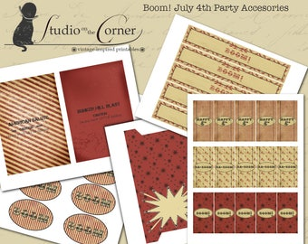 Boom! Fourth of July Party Kit, Party Decor, Party Decorations, July 4th Party Kit, Printable Party Kit, DIY Party Kit, Vintage 4th of July