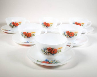 Arcopal cup and saucers Poppy, 4 sets, flowers, Vintage, Retro kitchen