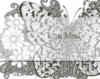 Butterflydoodle – Digital Download Coloring Page, Adult Coloring, Relaxing, Digi Stamp, Printable, PDF file.