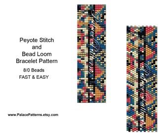 Peyote Stitch Bead Weaving Bracelet Pattern for Size 8/0 Beads - 8Bead402Drop - Bracelet Pattern for Bead Loom or Peyote Stitch