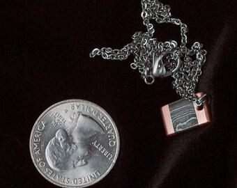 Damascus Copper Rectangle Pendant