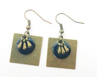 Black and bronze earrings