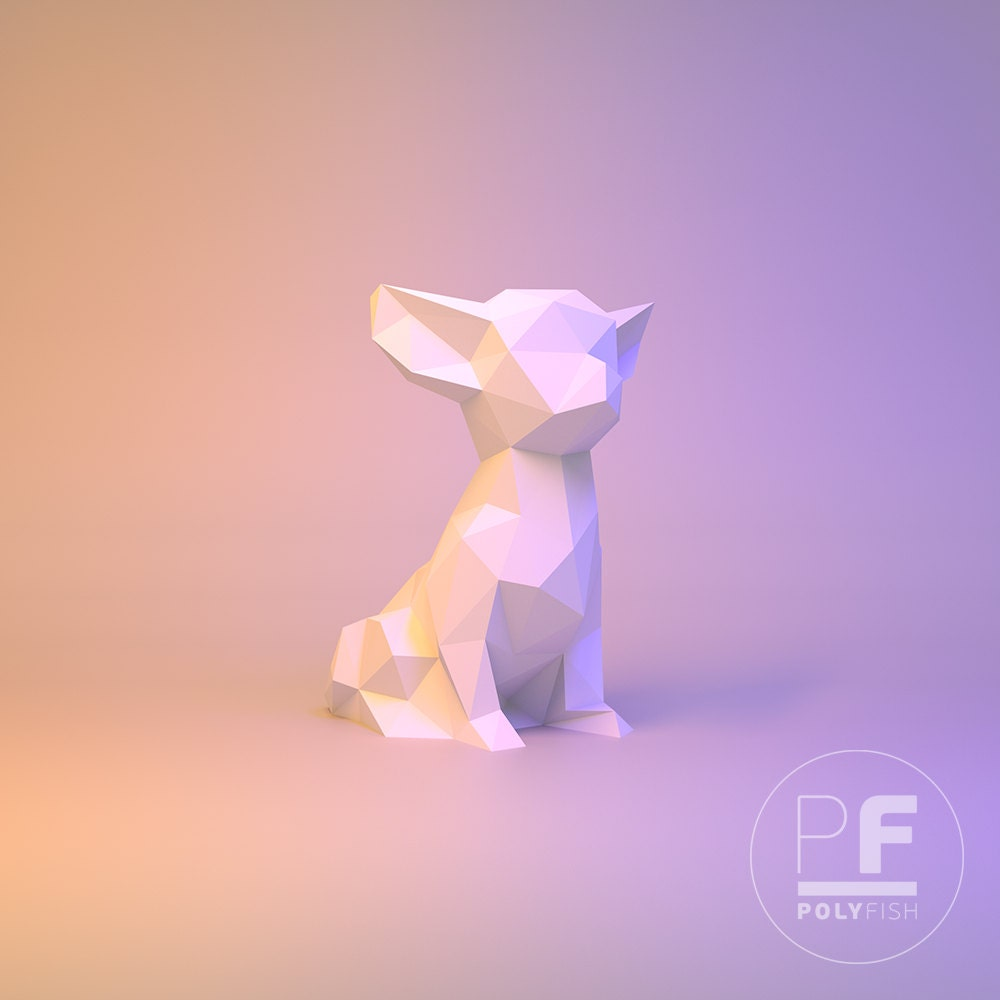 Chihuahua dog paper dog origami dog little dog pocket dog this is a digital file jeuxipadfo Gallery