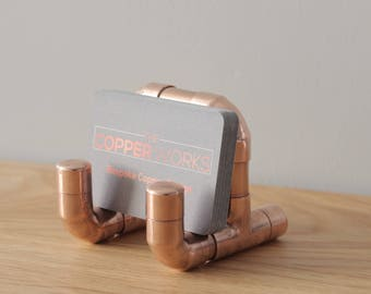 Business card/leaflet/phone holder - Industrial copper pipe and fittings