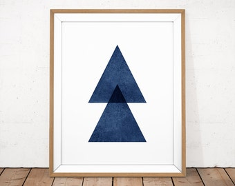 Navy Abstract Print, Minimalist Poster, Geometric Printable, Navy Blue Poster, Navy Blue Modern Art, Abstract Printable, Scandinavian Print
