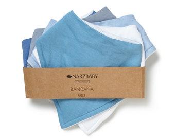 Narzbaby Bandana Bibs (5-Pack) Bibs,Baby Boy, Baby Girl, Bib, Cute Feeding, Drooling Covers | Adjustable Snaps for Infants| 100% Cotton