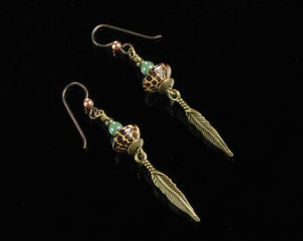 Boho Feather Earrings, Long Brass Dangle Earrings, Niobium Earrings, Boho Jewelry, Rustic Boho Brass Jewelry, Birthday Gift for Girlfriend