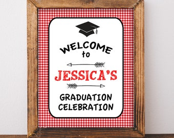 Graduation Welcome Sign, Personalized Party Welcome Sign, Red BBQ Grad Party Welcome, Custom Made Sign, DIY PRINTABLE