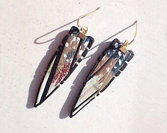 Valentines gift Unicorn Girl Power handmade rustic bohemian polymer clay dangle earrings
