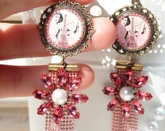FREE SHIPPING Audrey Hepburn Handmade Resin Dangle Earrings - Fashionista - Tiffany - Pink - Eiffel Tower - Movie Star - Gift Ideas -For Her