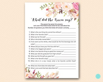 Boho Floral Bridal Shower Games, What did the Groom Say, What did he say about her, Newlywed Game, Bridal Shower Game, Games Download BS546