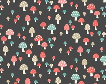 COTTON FABRIC Grey Toadstools - 'Flo's Garden' by Makower 100% premium cotton