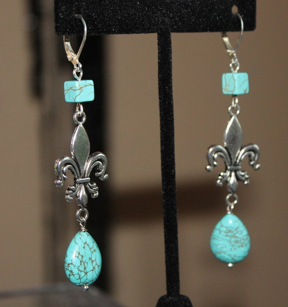 Fleur De Lis earrings, Turquoise beads, blue silver assemblage, Repurposed, Eclectic, One of a kind