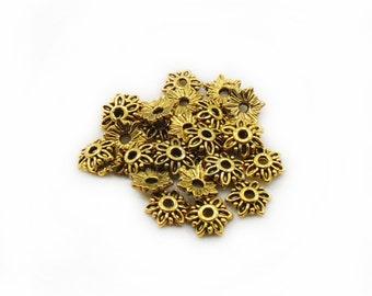 7mm Gold Tone Caps Beads, Caps Beads, Metal Caps Beads, Jewelry Making, DIY Beads Caps