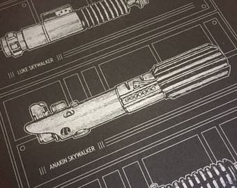 STAR WARS Lightsaber Screen Print