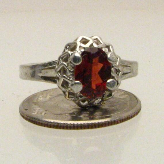 Handmade Exquisite Sterling Silver Garnet Ring