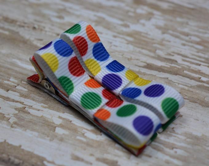 Bright Rainbow Dots Hair Clips Basic Tuxedo Clips Alligator Non Slip Barrettes for Babies Toddler Girl Set of 2