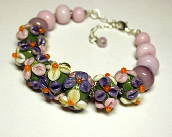 Lampwork bracelet, glass bracelet, flower bracelet, artisan glass, lampwork beads, gift for her