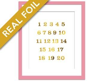 Numbers Art Print - Gold Foil Print - Numbers Poster - Typography Wall Art - Pink & Gold - Numbers Wall Art - Nursery Art Print - Baby Gift