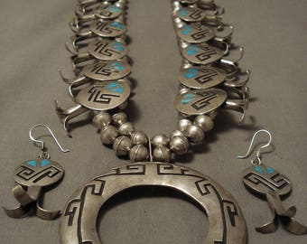 Opulent Vintage Hopi/ Navajo Turquoise Geometric Silver Squash Blossom Necklace