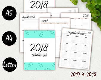 Weekly Planner 2017-2018, A5 Planner, Printable Calendar, Monthly, Daily Planner, Academic Planner, Kikki K, Calendar, A4 Printable Inserts