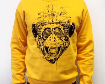 Sweatshirt unisex handprinted Giungla Urbana sun edition
