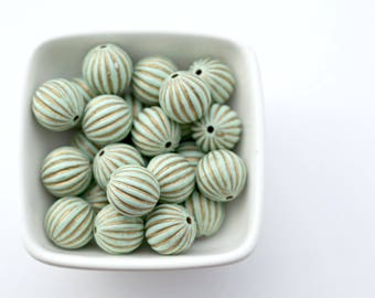 Mint Green Gold Fluted Round Acrylic Melon Beads 16mm (10)