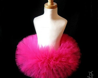 Hot Pink Tutu, First Birthday Outfit Girl Tutu, Baby Tutu Dress, Baby Girl Tulle Skirt, 1st Birthday Outfit Girl Tutu, Baby Shower Gift SEWN