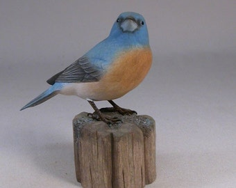 Lazuli Bunting Hand Carved Wooden Bird