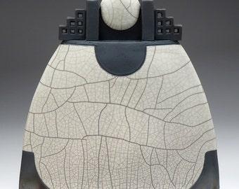 Ceramic sculptural vessel,Lunar Vessel, Raku Fired Art Pottery