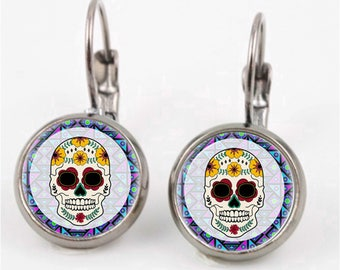 Sugar Skull Leverback Earrings