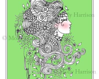 Gypsy Goddess - Coloring Page - Printable - Fantasy Fairy Art - Molly Harrison Fantasy Art - Digistamp - Digi Stamp, fairies, faery