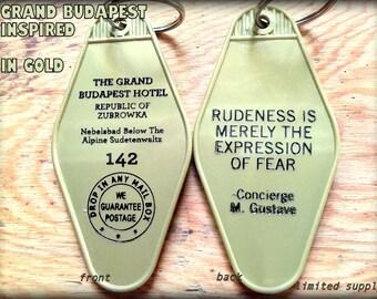 Gold GRAND BUDAPEST inspired keytag  LIMTED Supply!