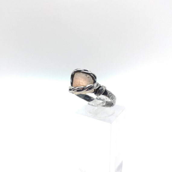 Oregon Sunstone Ring | Raw Crystal Ring | Raw Sunstone Ring | Braided Sterling Silver Ring Sz 8 | Boho Luxe Ring | Raw Stone Ring