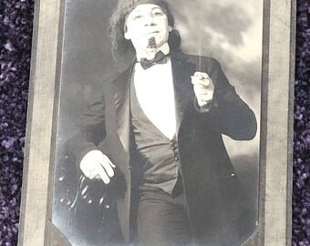 """1900s Original Photo of a Character Dressed as an Old Man for the Theater 4 3/4"""" X 3 1/2"""""""