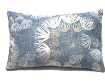 Decorative Lumbar Pillow Cover Shades of Denim Blue White Floral Toss Throw Accent 12x18 inch  x