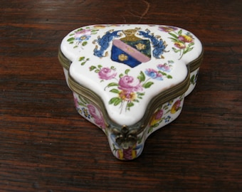 18th Century Armorial French Faience Box by Francois Boussemart  Dated 1763