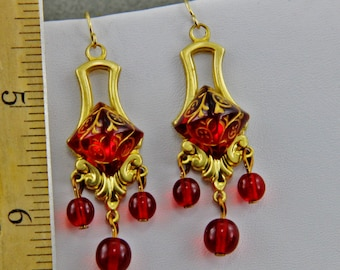 Handmade   Red  Crystal Pyramid Earrings Red and Gold Dangle Earrings