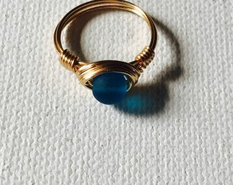 Ocean Blue Sea Glass Gold Wire Wrapped Ring
