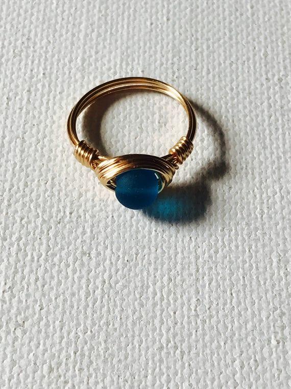Ocean Blue Sea Glas Golddraht umwickelt Ring
