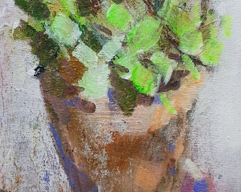 Summer Plants 2, Original Mixed Media Painting on Canvas Board