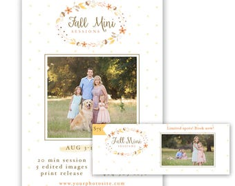 Fall Mini Session Template, photography marketing template, Autumn mini session template with free facebook timeline