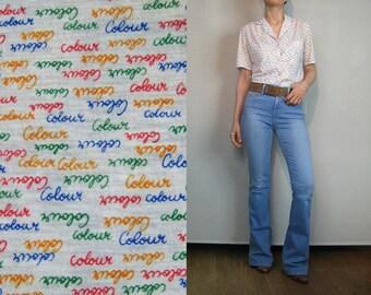 "70s Rainbow STRIPED ""COLOUR"" Print Novelty Top Vintage 1970s White Striped Cotton Blouse Rainbow Striped Cotton Top Novelty Print Top"
